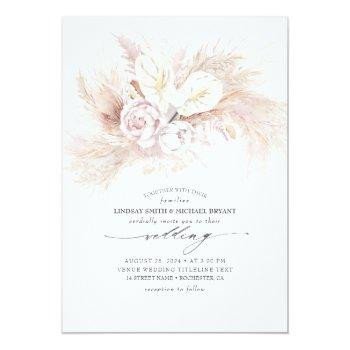 Small White Anthurium And Pampas Grass Elegant Wedding Invitation Front View