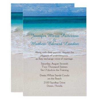 white beach custom wedding invitation