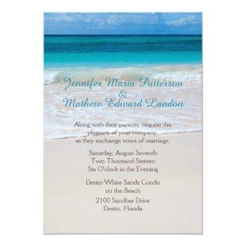 Small White Beach Custom Wedding Invitation Front View