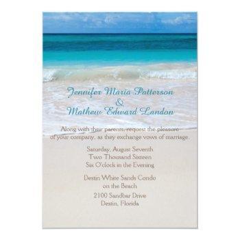 Small White Beach Wedding Invitation Front View