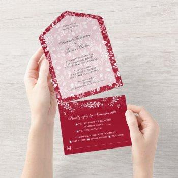 white botanicals on cranberry all in one invitation
