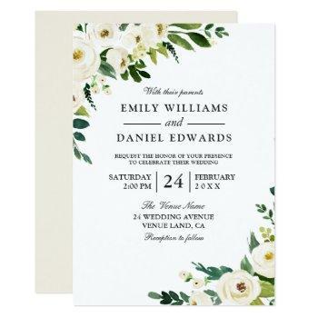 white champagne flowers elegant wedding invitation