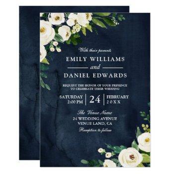 white champagne flowers & navy wedding invitation