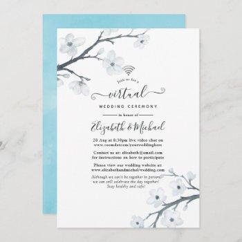 white cherry blossoms online virtual wedding invitation