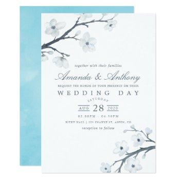 white cherry blossoms wedding invitation