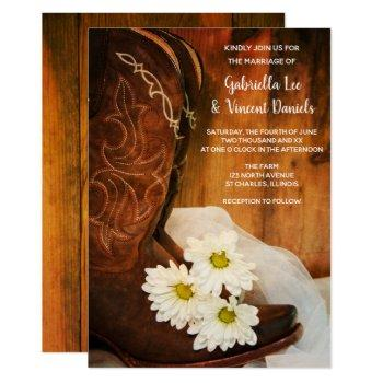 white daisies and cowboy boots western wedding invitation