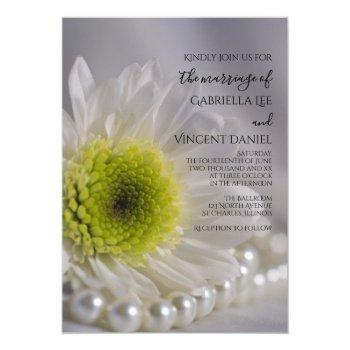 white daisy and pearls wedding invitation