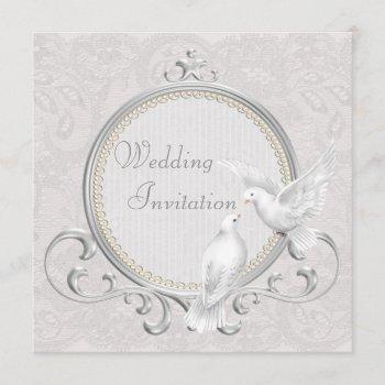 white doves & paisley lace wedding invitation