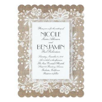 white floral lace rustic wedding invitation