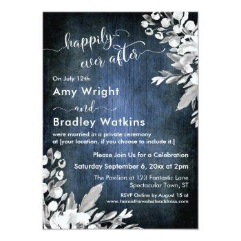 white floral watercolor blue happily ever after invitation