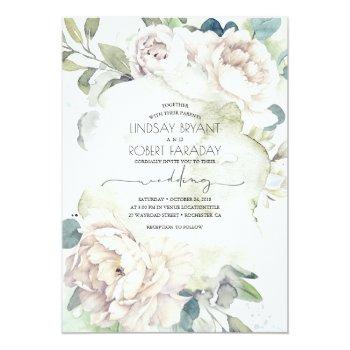 Small White Flowers And Greenery Elegant Vintage Wedding Invitation Front View