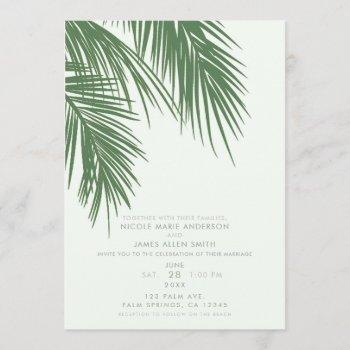 white green elegant tropical palm leaves wedding invitation