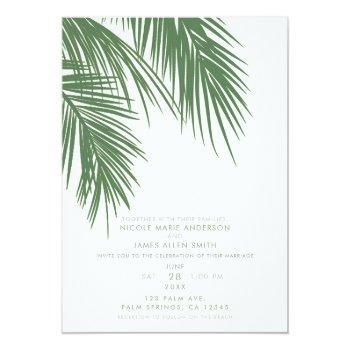 white green elegant tropical palm leaves wedding invitation