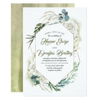 white hydrangea and greenery modern floral wedding invitation