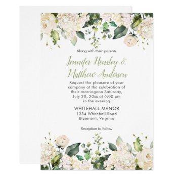 white hydrangeas roses greenery wedding invitation