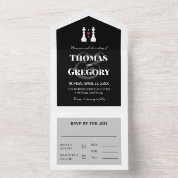white king chess pieces gay wedding all in one invitation