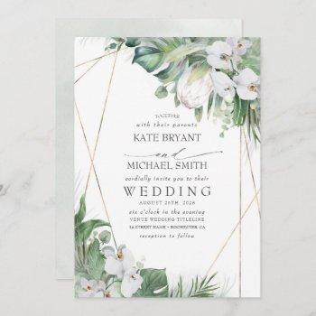 white king protea orchids tropical floral wedding invitation