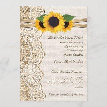 white lace, ribbon & sunflowers on burlap wedding invitation