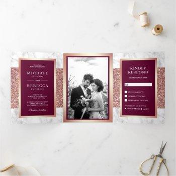 white marble rose gold glitter magenta wedding tri-fold invitation