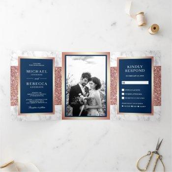 white marble rose gold glitter navy blue wedding tri-fold invitation