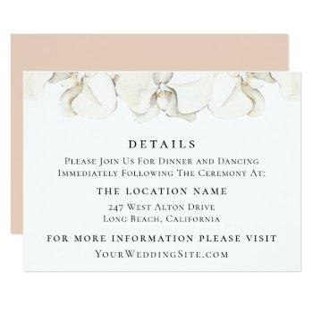 white orchid floral wedding details invitation