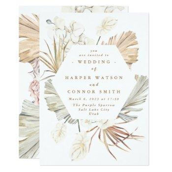white pampas dried grass floral tropical jungle invitation