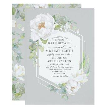 white peony and greenery geometric frame wedding invitation