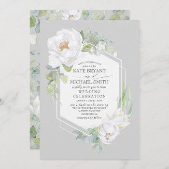 white peony and greenery geometric frame wedding invitation