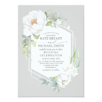 Small White Peony And Greenery Geometric Frame Wedding Invitation Front View