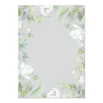 Small White Peony And Greenery Geometric Frame Wedding Invitation Back View