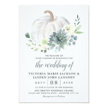 Small White Pumpkin Elegant Succulent Fall Chic Wedding Invitation Front View