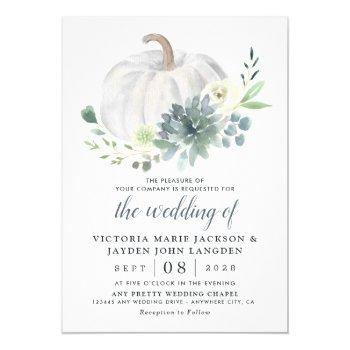 white pumpkin elegant succulent fall chic wedding invitation
