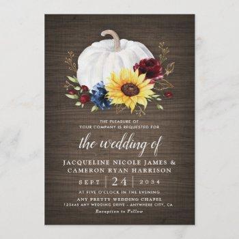 white pumpkin sunflower roses gold fall wedding invitation