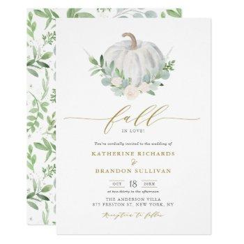 white pumpkin wreath greenery fall wedding invitation