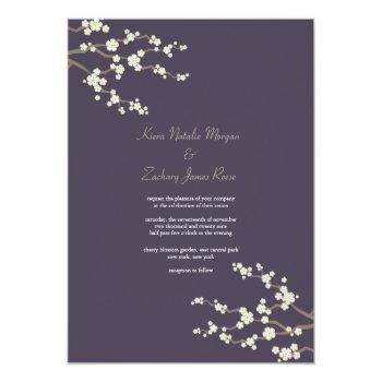 white purple sakura cherry blossoms wedding invite