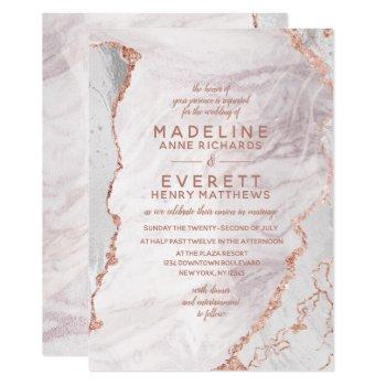 white & rose gold agate marble foil trendy wedding invitation