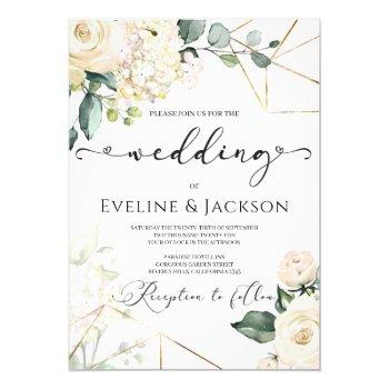 white roses hydrangeas greenery gold wedding invitation