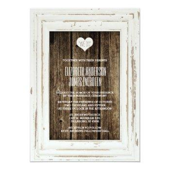 white rustic frame barn wood wedding invitation