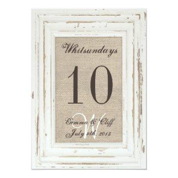 white rustic frame & burlap print table number for