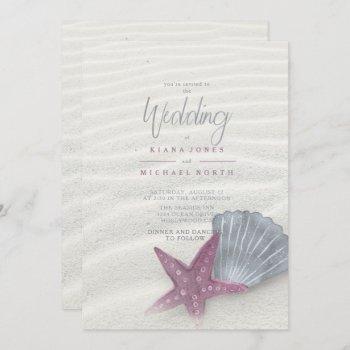 white sands starfish wedding plum/steel blue id605 invitation