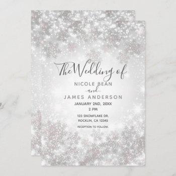 white sparkle snowflakes winter wonderland wedding invitation
