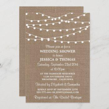 white string lights, rustic burlap wedding shower invitation
