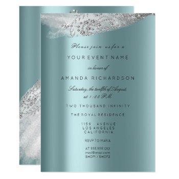 white sweet 16th bridal dress gray aqua diamond invitation