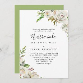white winter peony floral nuestra boda wedding invitation