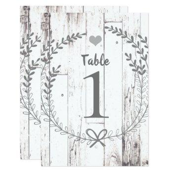 white wood rustic wedding table number seating