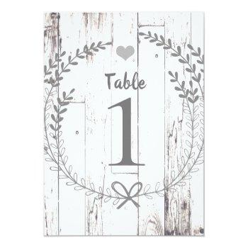 Small White Wood Rustic Wedding Table Number Seating Back View