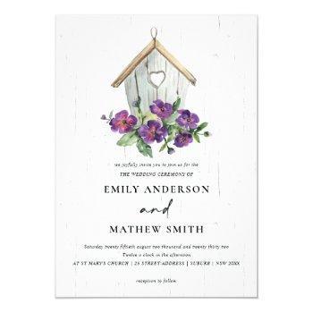 white wooden rustic floral birdhouse wedding invitation