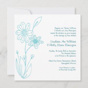 whoopsie daisy simple flowers aqua blue wedding invitation