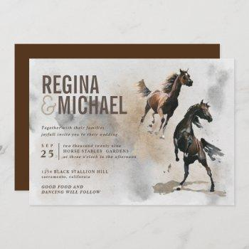 wild horse watercolor wedding invitation