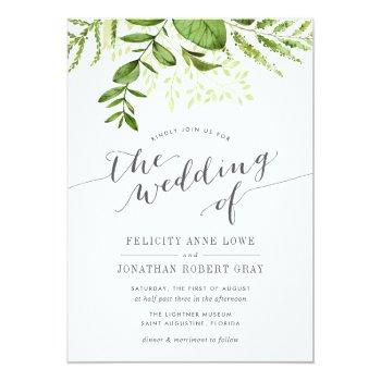 Small Wild Meadow Botanical Wedding Invitation Front View